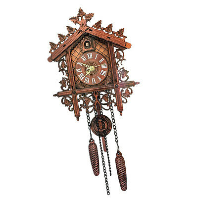 1XEuropean Vintage Cuckoo Clock w/ Pendulum Hand-carved Wood Wall Clock  Decor