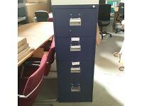 Bisley 4 drawer filing cabinet in blue