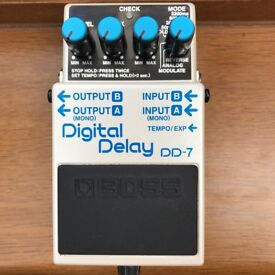 Boss DD7 Digital Delay with FS5U tap tempo pedal, excellent condition, 2 months old