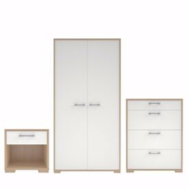 Evie Gloss Oak Effect White 3 Piece Bedroom Furniture Set