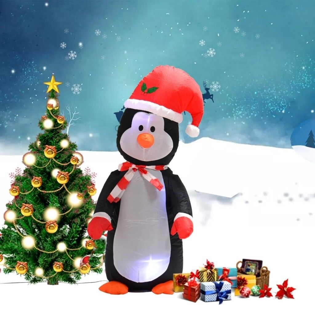 Costway Uk 1 2m Inflatable Christmas Penguin With Light Up Party Decoration Indoor Outdoor