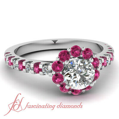 Pink Sapphire Floral Style Engagement Ring 1.4 Ct Round Cut Diamond FLAWLESS GIA