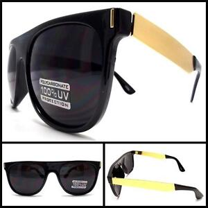 Men Women TRENDY VINTAGE WAYFARER STYLE SUNGLASSES Glossy Black Frame Gold Arms
