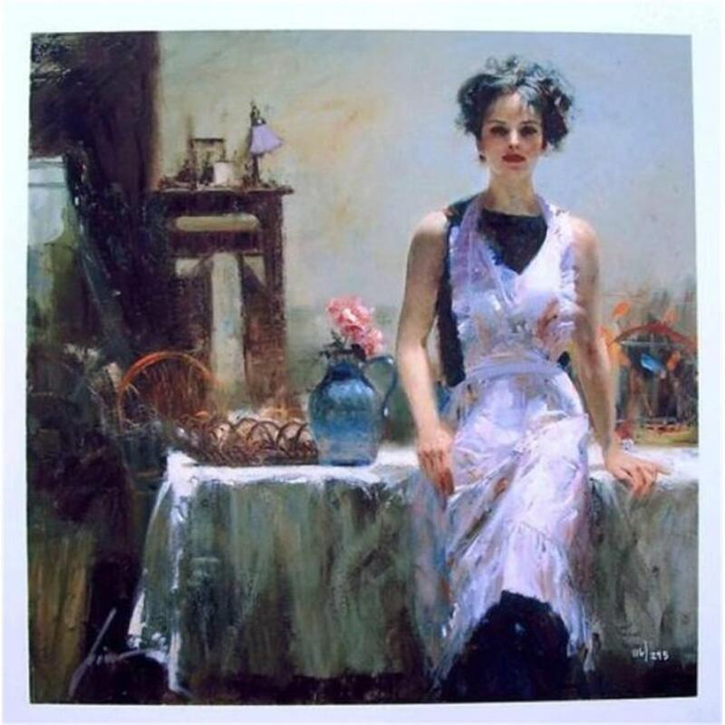 "Pino ""Evening Thoughts "" In her apron Sold out Embellished Giclee Canvas Hand S#"