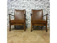 2x Superb Antique Birchcraft High Wycombe Wood & Leather Nursing Chair