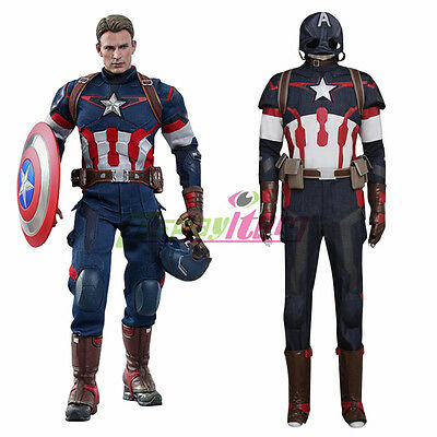 Age of Ultron Avengers Captain America Costume Steve Rogers Outfit custom made