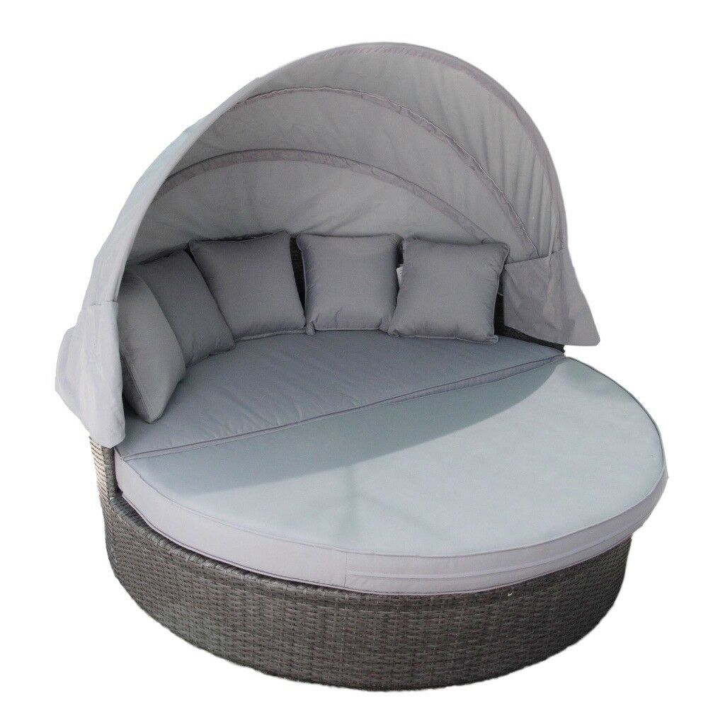 Grey rattan daybed with hood and scatter cushions ex display free delivery within 50 miles