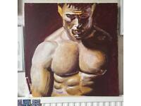 Original art painting, Tom Hardy acrylics study