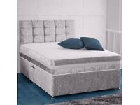 🔴⚫️🔴BLACK FRIDAY SALE 🔴⚫️🔴DOUBLE / KING SIZE CRUSHED VELVET DIVAN BED WITH DEEPQUILTED MATTRESS