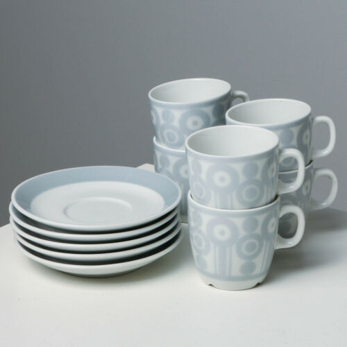 """11 pcs Vintage Rorstrand """"AGDA"""" Hand-painted Coffee Cups & Saucers MCM"""