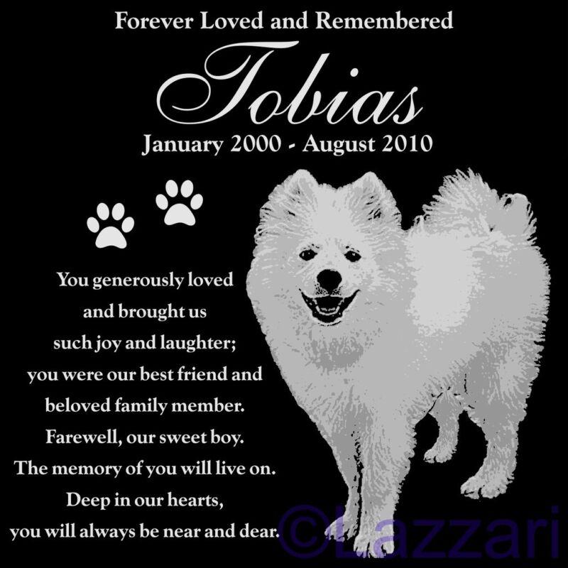 """Personalized American Eskimo Dog Pet Memorial 12"""" Granite Headstone Grave Marker"""