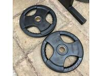 2x20kg Rubber Coated TriGrip Olympic Weights Plates set.