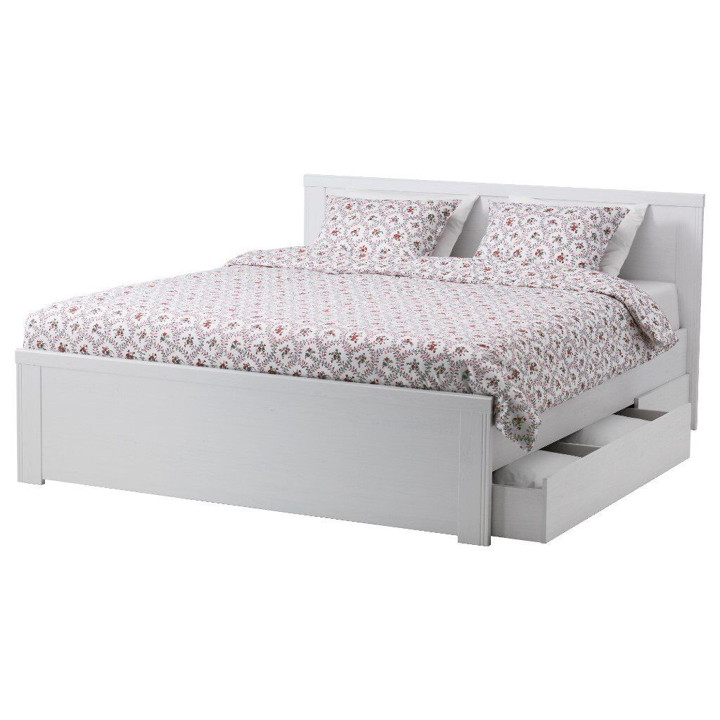 White Ikea King size bed frame with 4 storage boxes | in Clapham ...