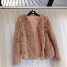 Ladies pink faux fur jacket