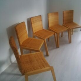 dining chairs 5 pine chairs woven basket effect