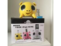 Yellow Amethyst pig ipod /iphone dock and speaker, remote control, as New