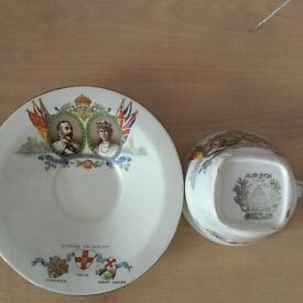 Silver wedding / cup & saucer George V & Queen Mary