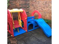 Childs swing and slide play set for indoors or outdoors