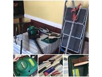Qualcast petrol hedge cutter+ladder & accessories