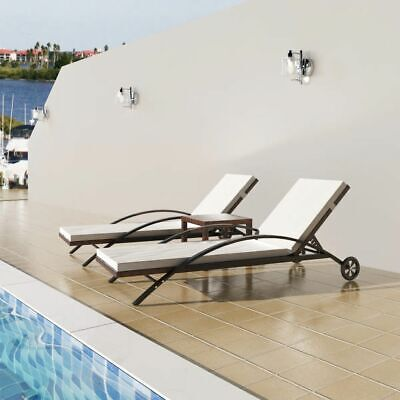 vidaXL Sun Lounger Set Poly Rattan Wicker Brown Garden Outdoor Loungers Table ()
