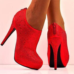 Ladies-Size-UK-3-Red-Diamante-Crystal-Sparkly-High-Heel-Platform-Ankle-Shoe-Boot