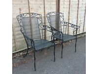 2 garden chairs in wrought iron style