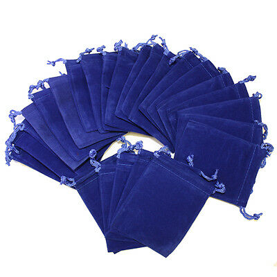 50pcs Royal Blue 3x4 Jewelry Pouches Velvet Gift Bags