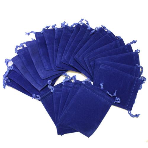 50Pcs ROYAL BLUE 3x4 Jewelry Pouches Velvet Gift Bags