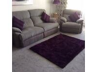 X2 3 seater recliner settees X1 chair + curtains, rug and cushions