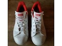 Adidas white and red Stan smiths