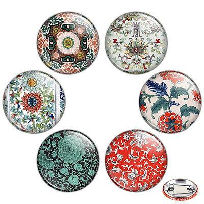 "Oriental Floral Motif 1.25"" Pinback Button BADGE SET #2 Novelty Pins Flower Gift"