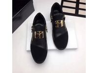 Giuseppe Black leather and Suede Runner Trainers