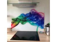Colourful glass splashback