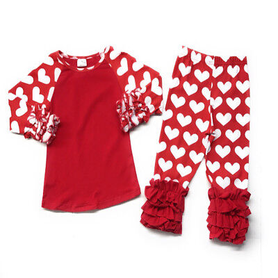 Valentine's Day Infant Baby Toddler Girl Red Heart Ruffled Boutique Outfit Kids