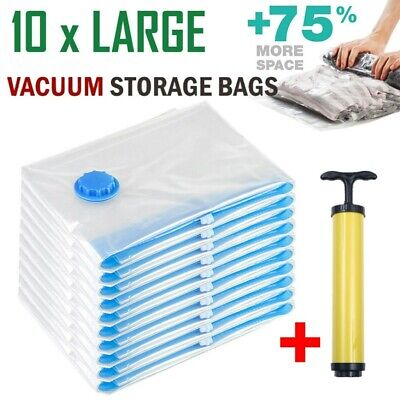 10x Large Vacuum Storage Bags Space Saver with Hand Pump For Travel Seal Clothes ()