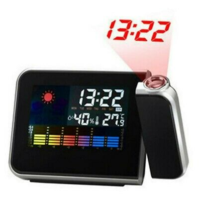 Digital LED Projektionsuhr Zeit Wecker Temperatur Feuchtigkeit Wetter