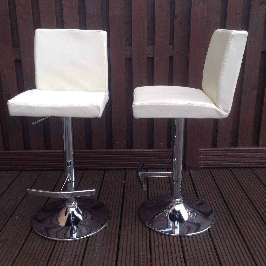 Gas lift REAL LEATHER cream kitchen bar stools x 2 : real leather kitchen bar stools - islam-shia.org