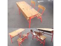 Vintage French Double School Desk and Chairs