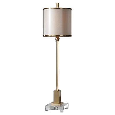 Elegant Slim Contemporary BRASS Metal Buffet Lamp Slim Sleek Gold Table Modern ()
