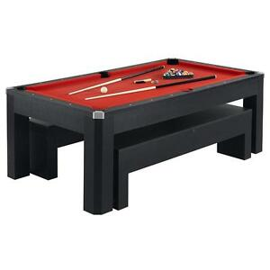 BRAND NEW POOL TABLE WITH BENCHES! TRANSITIONS INTO TABLE TENNIS AND A DINING TABLE COMES WITH ORIGINAL PACKAGING