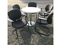 5 Stacking Office Chairs and Circular Table