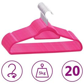 20 pcs Clothes Hanger Set Anti-slip Pink Velvet-289923