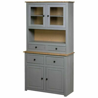 Vintage Kitchen Larder Cabinet Grey Large Pine Cupboard Storage Pantry Rustic
