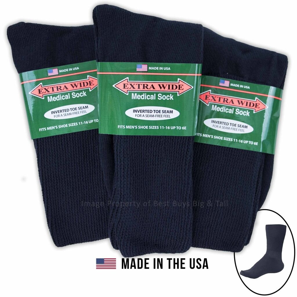 Big & Tall Men's Extra Wide Socks Medical Crew 3-pack Nav...