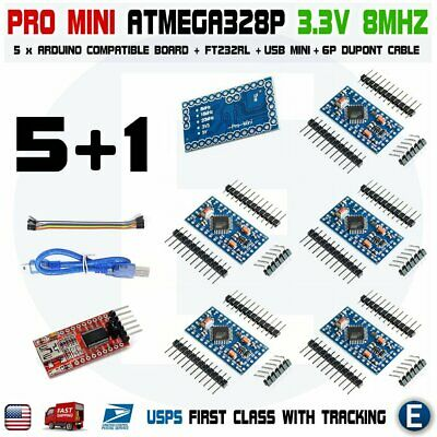 5pcs Atmega328p Board For Arduino Pro Mini 3.3v 8mhz Ft232rl Ftdi Cable Mini Usb