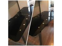 Large Glass & Chrome Black Dining Table, 3 CHAIRS FREE - Dismantled Ready for Collection