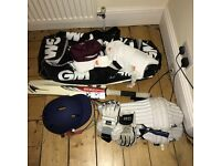 Boys cricket bag with pads, helmet and gloves ages 9-11
