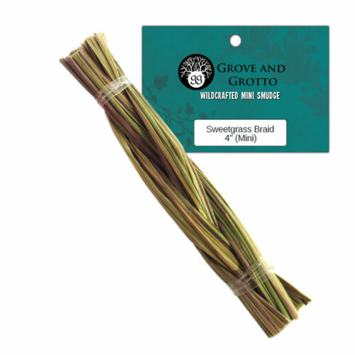 "Mini Sweetgrass Braid 4"" Wildcrafted Braided Incense Smudge US Grown"