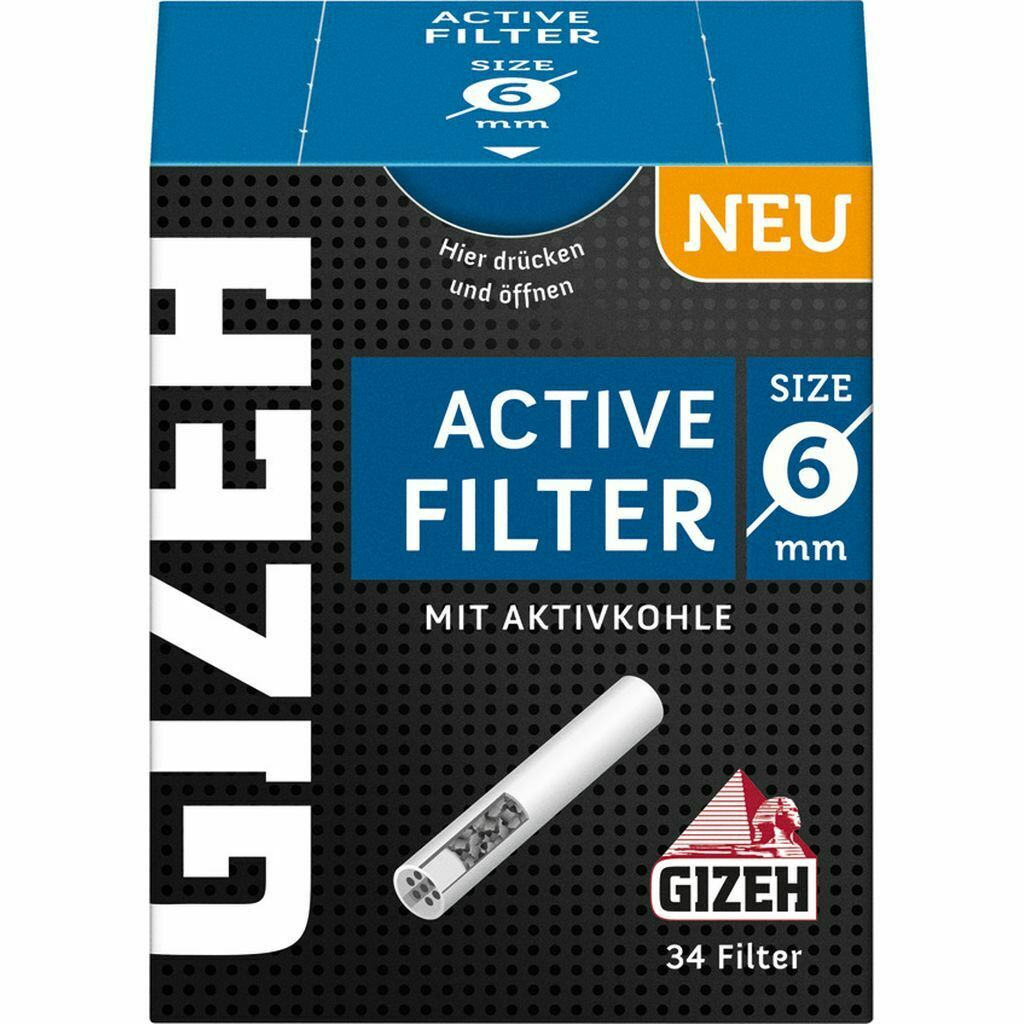 Gizeh Active Filter Slim Ø 6 mm 34 Stück Aktivkohlefilter Joint Tips NEU
