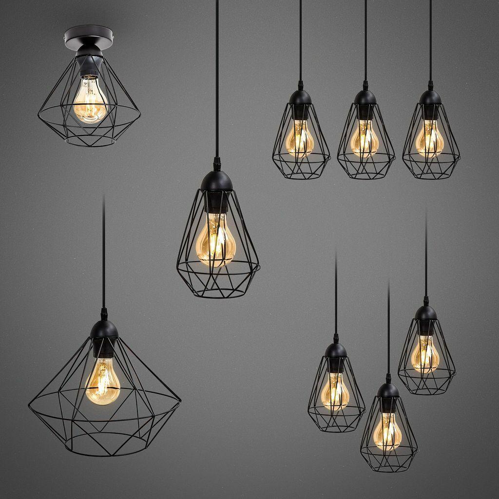 Deckenlampe Hängeleuchte schwarz Metall Draht Vintage Industrie Retro E27 Käfig